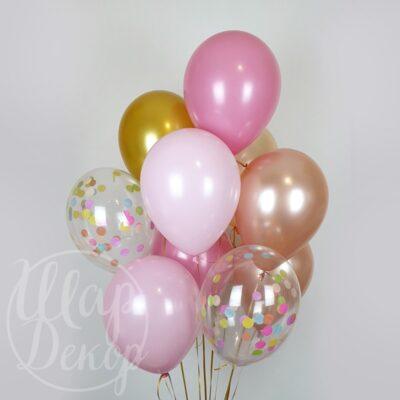 Букет воздушных шаров с гелием Розовый и конфетти