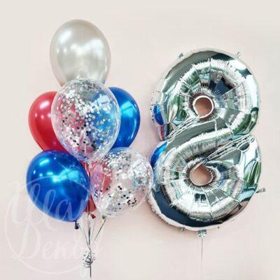 Букет воздушных шаров с гелием с цифрой 8 серебро