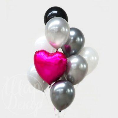 Букет воздушных шаров с гелием Серебро и розовое сердце