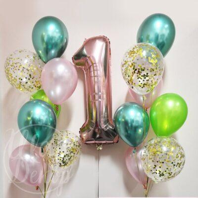 Фонтаны из воздушных шаров с гелием с цифрой 1 розовое золото