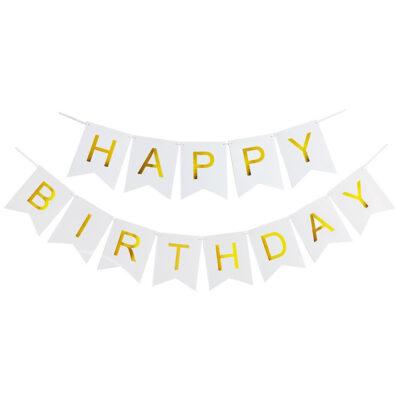 Гирлянда бумажная флажки белые С днем рождения