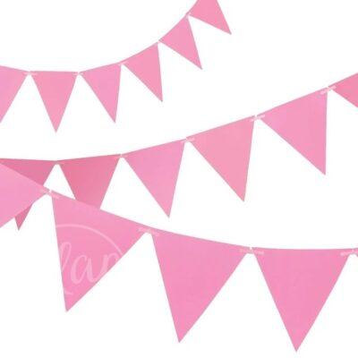 Гирлянда флажки розовая