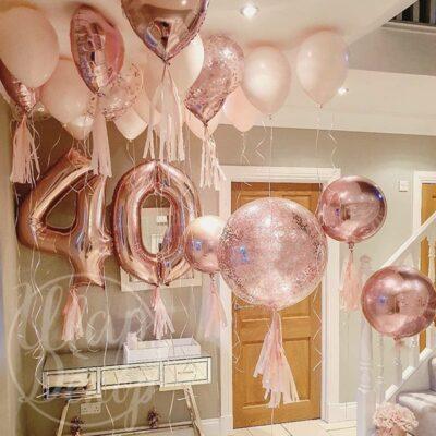 Готовое решение из воздушных шаров с гелием 40 лет розовое золото