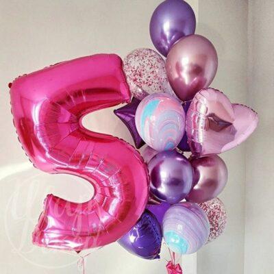 Набор воздушных шаров с гелием на 5 лет розовый и агаты