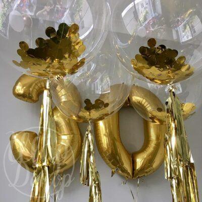 Набор воздушных шаров с гелием цифры золото и баблс