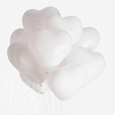 Облако воздушных шаров с гелием Белые сердца
