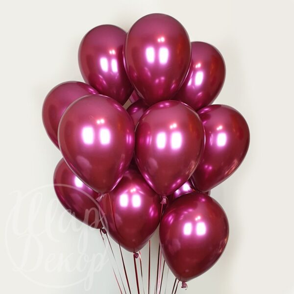 Облако воздушных шаров с гелием хром бордовый