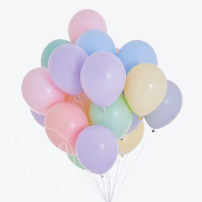 Облако воздушных шаров с гелием макарунс пастель
