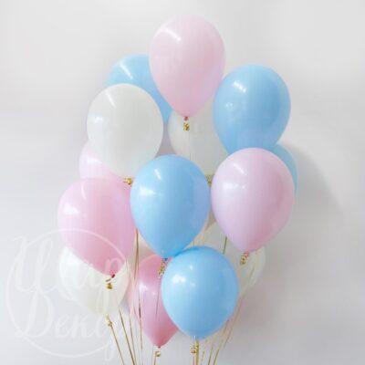Облако воздушных шаров с гелием розовый и голубой пастель