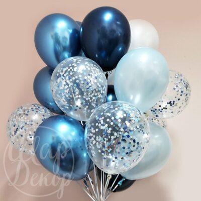 Облако воздушных шаров с гелием синий хром и конфетти