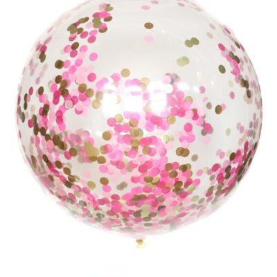 Шар большой воздушный с гелием с конфетти розовый
