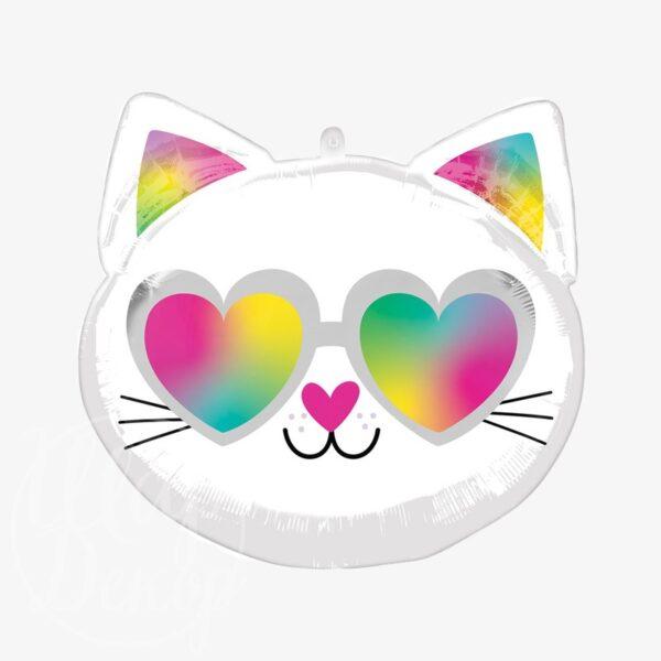 Шар воздушный с гелием Кошка голова черно-белая