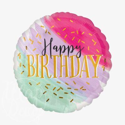 Шар воздушный с гелием круглый большой полосы С днем рождения