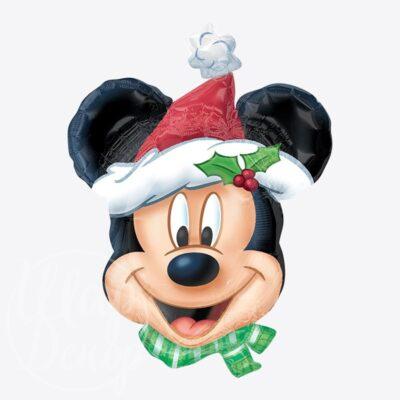 Шар воздушный с гелием Микки Маус новогодний