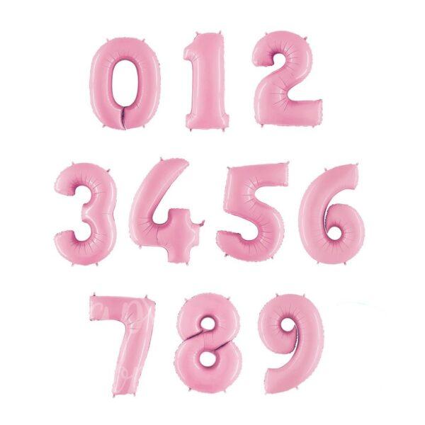 Шар воздушный с гелием цифра розовая пастель