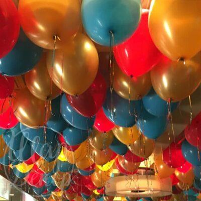 Шары воздушные под потолок красный, голубой и золото металлик
