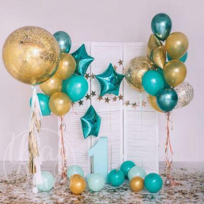 Фотозона из воздушных шаров с гелием Золото и бирюзовый