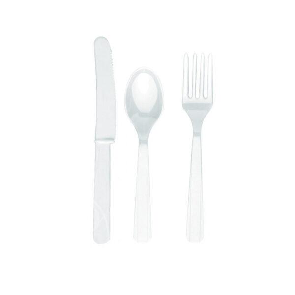 Приборы пластиковые 24 шт белые