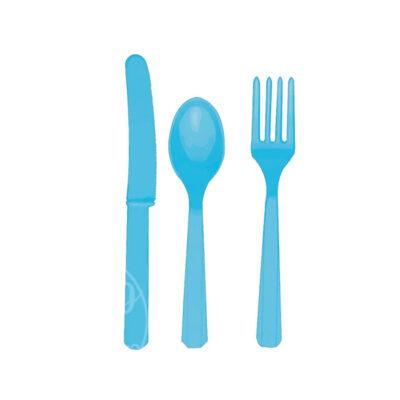 Приборы пластиковые 24 шт голубые
