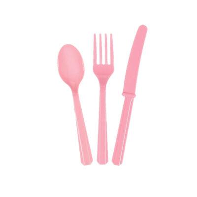 Приборы пластиковые 24 шт розовые