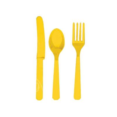 Приборы пластиковые 24 шт желтые