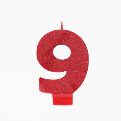Свеча цифра 9 Блеск