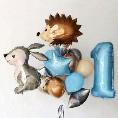 Набор воздушных шаров с гелием на 1 год Ёжик и заяц