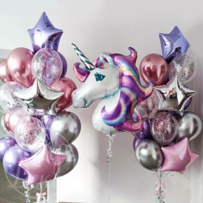 Набор воздушных шаров Сиреневый единорог